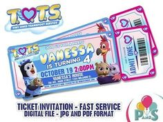 Custom Disney Jr TOTS ticket invitation Birthday Party Fast service TOTS Animal | eBay Disney Junior Birthday, Baby Birthday, 1st Birthday Parties, Disney Jr, Ticket Invitation, Invitation Birthday, A Day To Remember, For Your Party, Birthday Party Decorations