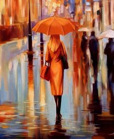 """Look at this painting! Look at the color, the heat. How even on a rainy day (I'm going to imagine Seattle), there is still vibrance and warmth. How this woman calmly walks the sidewalks she always has, how she stands out against the other passers. """"Here I am, this is my city!"""" Love it."""