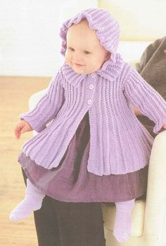 Lilac coat matinee coat for baby vintage knitting by Ellisadine