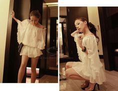 Elegant Batwing Short Sleeve Women's Cheap White Chiffon Dress, WHITE, ONE SIZE in Chiffon Dresses | DressLily.com