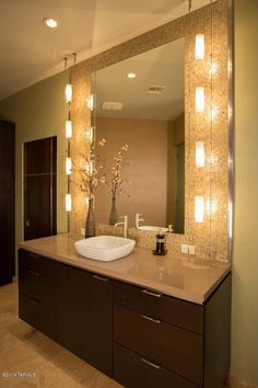 Contemporary Full Bathroom with Flush, frameless showerdoor, Vessel sink, limestone tile floors, Ceramic Tile, Wall sconce