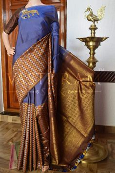 Kanchipuram Silk Saree With Animal Motifs. Code: A0417KA031505 Cost:23500 INR Whatspp 91 7019277192 Please note: The colours you see on your device may vary due to the varying colour reproduction and temperature of individual devices. #VasthramSilk #handwovensilksaree #handloomsilk #indianfashion #southindianfashion #bridalcollections #purekanchivaramsilksaree #kanchisilks #indianweave #designersilk