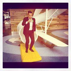 Ike coming out of a tube slide #hanson www.hanson.net