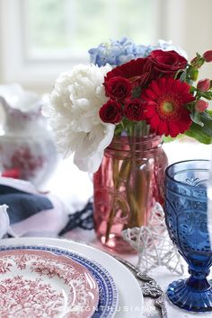 of July Champagne Brunch Tablescape Red White and Blue Tablescape Fourth Of July Decor, 4th Of July Decorations, Party Table Decorations, July 4th, Christmas Decorations, Mason Jar Centerpieces, Mason Jars, Party Centerpieces, Dresser La Table