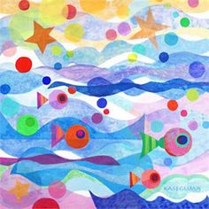 Dress up a bare wall with the Starry Sea Canvas Wall Art from Oopsy Daisy.  Bright colors and a modern style make this canvas come to life!