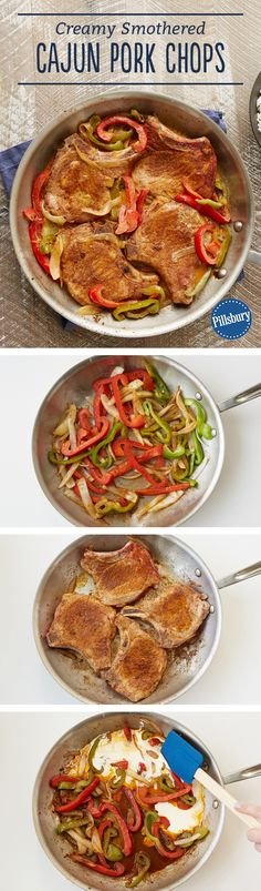 These Cajun-seasoned pork chops are prepared easily in a skillet with a mixture of sautéed peppers and onions in a simple creamy sauce. Expert tip: We used McCormick™ Perfect Pinch™ Cajun seasoning. Cajun seasoning varies in heat and salt levels. If your seasoning doesn't have salt, be sure to salt your dish to taste.