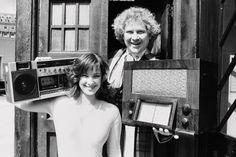 Colin Baker with Nicola Bryant (Perpugilliam Peri Brown), promoting the Radio 4 The Doctor Who Story series, June 1985