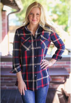 Blue and red plaid tunic