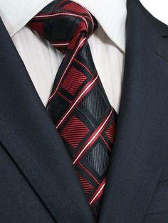 "Landisun 61E Checks Mens Silk Tie Set: Tie+Hanky+Cufflinks Burgundy Black, 3.25""Wx59""L"