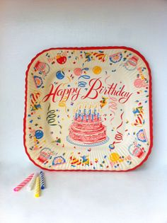 A delightfully fun vintage birthday party paper plate. #vintage #birthday- I remember these plates.