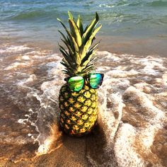 First-class pineapple with sunglasses at the beach