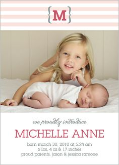 Initially Yours Girl Birth Announcement... Adorable