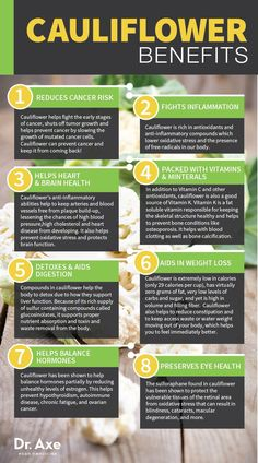 Cauliflower: Benefits, Nutrition & Recipes  http://www.draxe.com #vegetables #health #benefits