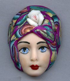 OOAK Polymer Clay Detailed Art Doll face with Faux Fabric Clay Hat NDH 1