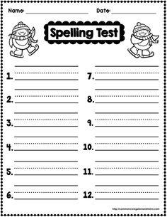 **FREEBIE** Winter Themed Spelling Test Template