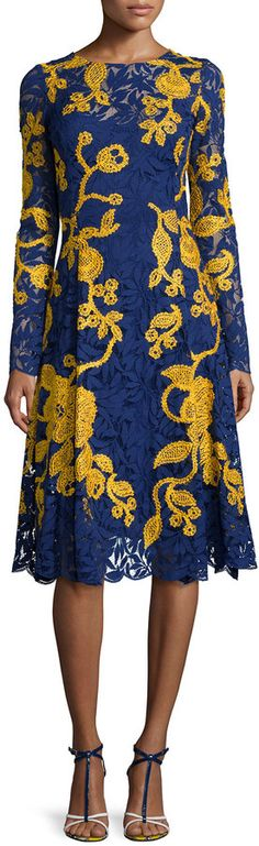 Oscar de la Renta Two-Tone A-Line Lace Dress, Marine Blue