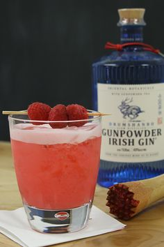2 oz Drumshanbo Gunpowder Irish Gin,  1 oz egg white,  ¾ oz fresh lemon juice,  ½ oz grenadine,  ¾ oz simple syrup,  4 fresh raspberries, plus 3 for garnish ~   Muddle raspberries with simple syrup in the bottom of a shaker. Add first four ingredients. Shake vigorously for 30 seconds and strain into a rocks glass filled with ice. Garnish with skewered raspberries. Cocktail Recipes, Cocktails, Fresh Lemon Juice, Simple Syrup, 30 Seconds, Raspberries, Gin, Shake, Irish