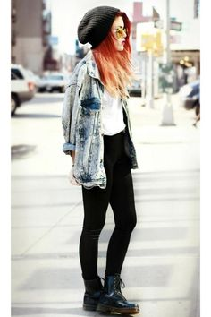 light blue vintage jacket - navy Dr. Martens shoes, but the glases and beany make the outfit