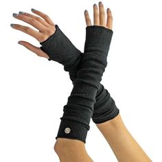 Long Black Tight Fitting Arm Warmers With Thumb Hole ($13) ❤ liked on Polyvore featuring accessories, gloves, armwarmers, black, long arm warmers, knit gloves, arm warmer gloves, knit arm warmers and stretch gloves