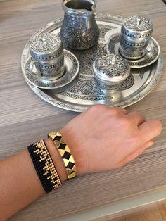 Bracelet miyuki bead and leather bracelet combin, handmade by alatakidesign on Etsy