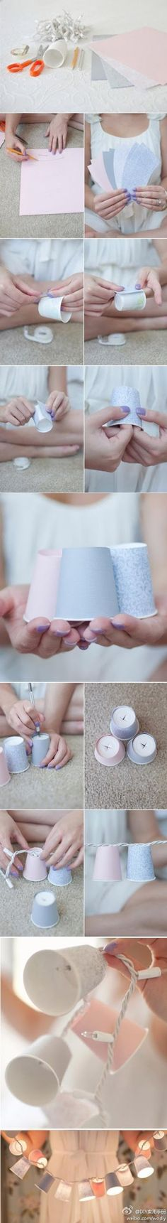 """Make light shades with paper cups ~ Another craft that can be used all year ~ just make new """"shades"""" by changing out the cups.  Decorate the cups with 'scrapbooking' paper to change with the season/holiday."""