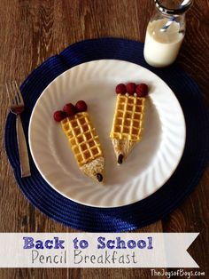 Back to School Breakfast: Pencil Waffles.  This back to school breakfast takes just minutes to make and will brighten the day of any student or teacher who is heading back to school.