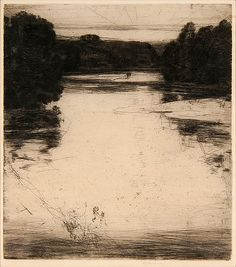 Afterglow (or Evening) on the Findhorn by Sir David Young Cameron (Scottish, 1865-1945) etching and drypoint