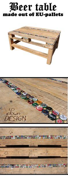 Palettentisch und Kronkorken, die perfekte Kombination!  Beer Table; bottle cap; crown cap (Diy Bar Table)