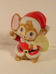Vintage Christmas Ornament Decoration Ceramic Mouse Santa 1980s Cutie | eBay
