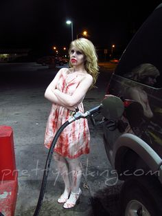 Zombie Costume and Makeup This would be creepy to see at a gas station
