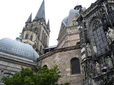 Aachen Cathedral, Germany.   FINAL resting place of Charlemagne. When he died in 814, his remains placed in a vault in the cathedral.  The Aachen cathedral treasury displays sacral masterpieces of the late Classical, Carolingian, Ottonian and Staufian period - among them there are some unique exhibits like the Cross of Lothair, the Bust of Charlemagne and the Persephone sarcophagus. The Cathedral Treasury is regarded as one of the most important ecclesiastical  treasuries in No. Europe.