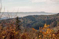 Widok na Góry Stołowe ze szlaku niebieskiego z Barda do Srebrnej Góry.