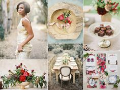 Red, green, and gold wedding inspiration board | http://burnettsboards.com/2013/11/red-green-gold-wedding/