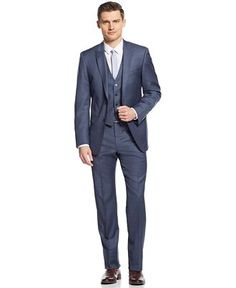 Calvin Klein X Blue & Grey Sharkskin Vested Extra-Slim-Fit Suit - Suits & Suit Separates - Men - Macy's