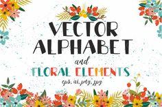 Vectot alphabet and floral elements by lesyaskripak on @creativemarket