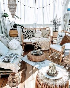 Picture Of a neutral boho porch with rattan furniture and candle lanterns, lights, potted plants, pillows and textiles Patio Flooring, Patio Stone, Flagstone Patio, Concrete Patio, Boho Dekor, Deco Studio, Bohemian House, Bohemian Porch, Hippie House
