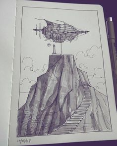 Great #penandink #airship #illustration by Muhammad Kassim (@themfk) of a rather large dirigible tied off at a mountain peak. I'm not sure if the tower being visited is a lighthouse or a monument but judging by the speech bubble adjacent to the tower the inhabitants are not pleased with there flying ship visitors.  I live all the steampunk elements of the ship as their dense detailing contrasts nicely with the stark landscape. I am also rather impressed with the texture and shading rendering…