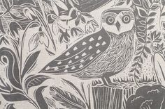 Owl and Fox Countryside Grey Linen Fabric