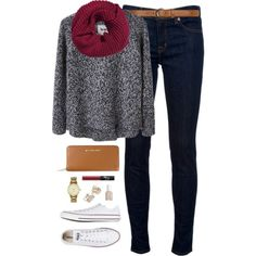 ootd by classically-preppy on Polyvore featuring Acne Studios, J Brand, Converse, Michael Kors, Kate Spade, H&M, Dorothy Perkins, NARS Cosmetics and Essie