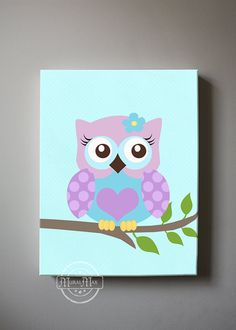 Owl Baby Nursery Canvas Print for any girls room. 10 x 12 ( or selected size ) Owl Canvas Prints. This print is a reproduction of my original… Baby Owl Nursery, Aqua Nursery, Baby Owls, Elephant Nursery, Nursery Decor, Nursery Canvas Art, Owl Canvas, Canvas Wall Art, Canvas Prints