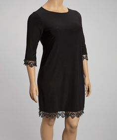 Another great find on #zulily! Black Lace-Trim Shift Dress - Plus by Tiana B #zulilyfinds