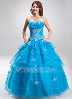[US$ 221.99] Ball-Gown Sweetheart Floor-Length Organza Quinceanera Dress With Embroidered Beading Sequins Cascading Ruffles