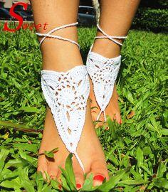 Лето стиль пляж свадьба белый вязка крючком сандалеты, Обнажённый обувь, Нога ювелирные изделия, Стимпанк, Стринги, Сексуальный, Свадебные обувь купить на AliExpress