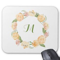 Gold Beige and Green Floral Wreath | Monogram Mouse Pad - flowers floral flower design unique style