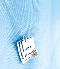 Stacked Square Mommy Necklace - Mothers Day Jewelry - Pregnancy Announcement - Personalized Mom Necklace - Hand Stamped Mommy Necklace. $35.00, via Etsy.