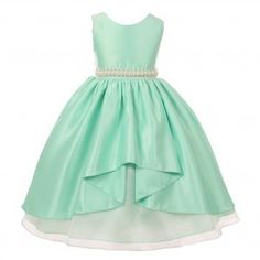 Big Girls Mint Satin Unbalanced High Front Junior Bridesmaid Dress 8-12
