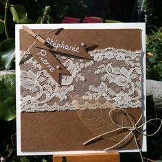 Faire-part de mariage champêtre romantique en kraft et dentelle et sa feuille séchée : Faire-part par mon-faire-part-est-unique