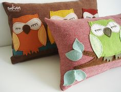 owl pillows -- I could probably make these.   Cute!!!
