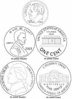 us coin clip art coloring page