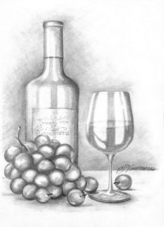 Color Pencil Drawing Wine and grapes - pencil drawing Shading Drawing, Pencil Sketch Drawing, Nature Drawing, Pencil Art Drawings, Sketch Art, Easy Still Life Drawing, Still Life Pencil Shading, Still Life Sketch, Cool Art Drawings